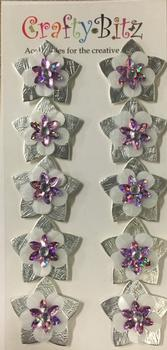 10 Silver Stars with Pink Jewelled Tops - Card Making Toppers -Jacksons mail Order
