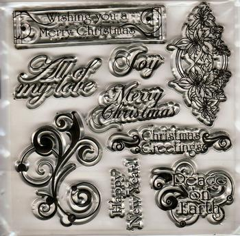 9 Piece Merry Christmas Stamping Set . *