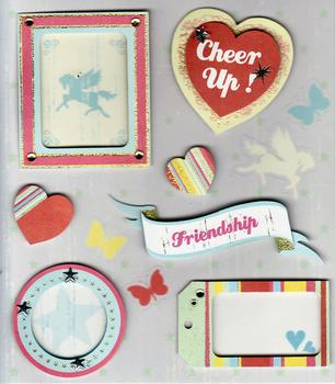 3D Stickers from Crafty Bitz - Cheer Up / Friendship / Hearts Picture Frame -Jacksons mail Order