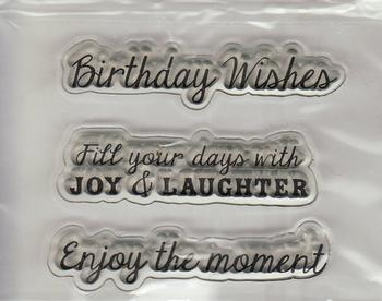 3 x Birthday Wishes, Laughter & The Moment Stamp Set . *