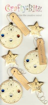 3 x Jewelled Christmas Gold Baubles and Stars . *