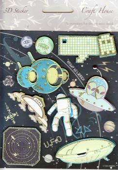 Space Themed Embellishments with Gold Glittered Edging . *