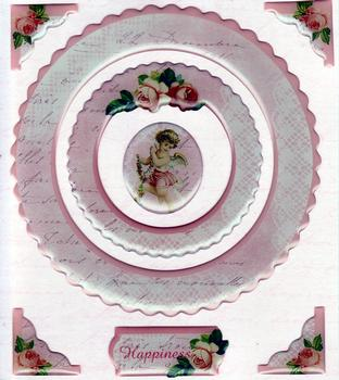 Cherub Themed Exquisite Card Decoration Padded and with Corners *