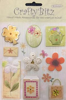 Floral Themed 3D Stickers - 9 x Designs per sheet . -