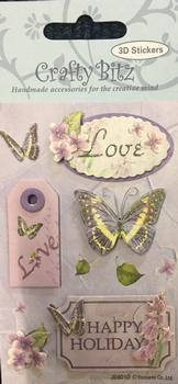 Lovely Butterfly 3D Stickers - Butterfly Themed with Love & Happy Holiday Sentiments . -