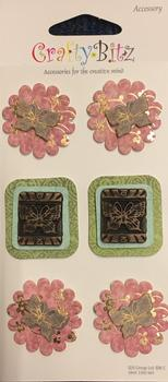 6 x Oriental Flowers - 3D Accessories Stickers for CardMaking -