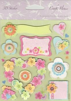 Craft House 3D Stickers - Toppers - Floral Themed with Hearts - pp82 . -Jacksons mail Order