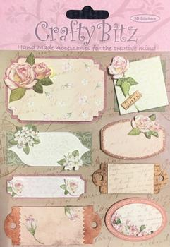 8 X FLORAL Crafty Bitz - Blank Sentiments - 3D Stickers . -