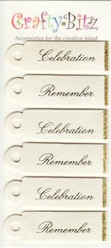 Cream Pearlised Sentiments/Captions with Gold Glitter Edging - 3 x Celebration 3 x Remember pp93 -Jacksons mail Order