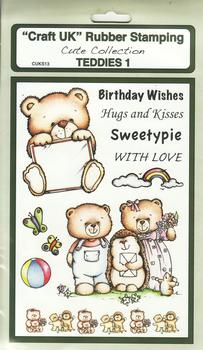 Teddies 1 - Cute Collection Rubber Stamp Sheet . *