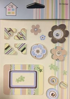 Topper Embellishments - Corners Flowers and Circular Blue & Beige Themed Toppers . -Jacksons mail Order