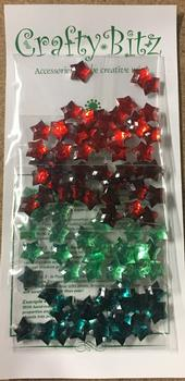 Stars - Light Red / Dark Red / Light Green / Dark Green - Great for Christmas - Crafty Bitz . -Jacksons mail Order
