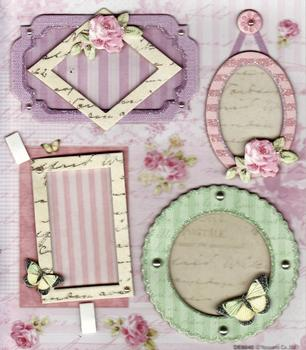 Card Embellishments - Small Frames - Flowers & Butterflies . *