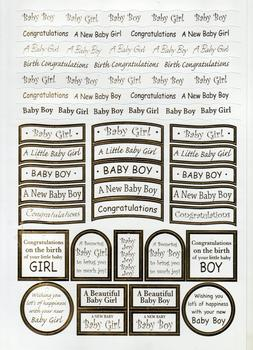 New Baby - Congratulations Captions - Gold Foiled Lettering on White Card  Die-cut captions