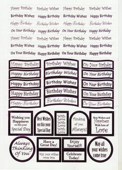 Happy Birthday Captions - Lilac Foiled Lettering on White Card .  Die-cut captions