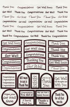 Pink Thank you / Congratulations / Get Well - Foiled Lettering on White Card . *