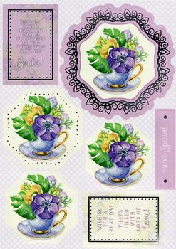 Flowers in Teacup Diecut Sheet *