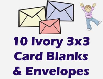 3x3 Ivory Cards & Envelopes (10 Pack) . *
