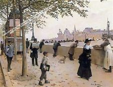 On The Banks Of The Seine by Jean Beraud *** Selby Prints *** 45.5cm  x 40 cm .