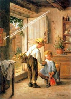 Cosy Kitchen Scene by Philippe François Sauvage *** Selby Prints *** 485mm x 340mm .