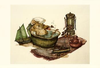 Harvest Mouse - Boats At Bathtime - by Jane Pinkney size Excluding Boarder 6.9