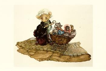 Harvest Mouse - The Dolls Pram - by Jane Pinkney size Excluding Boarder 6.4