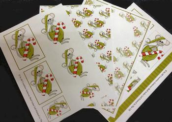 4 sheet Xmas Mice kit - Inc Envelope . -