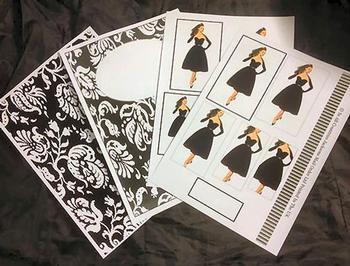 4 Sheet Vintage Fashion Kit inc Envelope . *