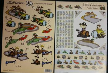 Alphabet RACING TRACK & PIRATE THEMED - Die Cut Sticker & 3D Sheet 470 471 . -