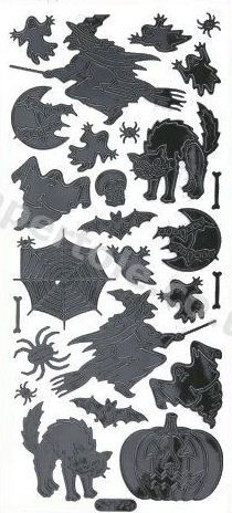 HALLOWEEN - BLACK PEEL OFF - Witches - Ghosts - Pumpkins 14 Peel Off Stickers Le Suh