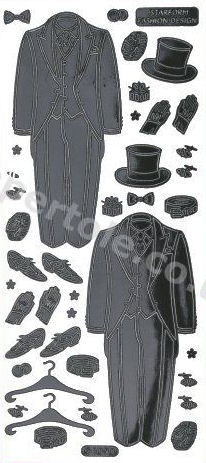 Groom / Top Hat and Tails / Wedding - Black Peel Off  Sticker - No 16 Peel Off Stickers Le Suh