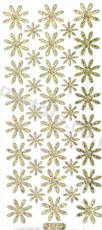 Flower Heads - Snow- Gold   27 Peel Off Stickers Le Suh