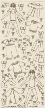 Girl and Clothes Gold   41 Peel Off Stickers Le Suh