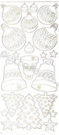 Gold Xmas Decorations - Bauble - Tree - Bell 43 Peel Off Stickers Le Suh