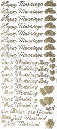 Happy Marriage / Your Wedding Day / Bride and Groom / Just Married / Rings -- GOLD - PEEL OFF - STICKERS - by Starform *** 51 Peel Off Stickers Le Suh