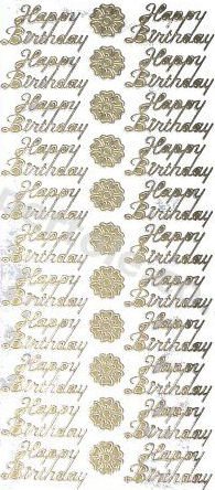 Happy Birthday GOLD - PEEL OFF - STICKERS - 52 Peel Off Stickers Le Suh