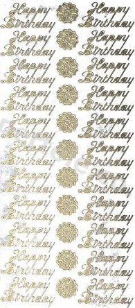 Happy Birthday GOLD - 52 Peel Off Stickers Le Suh