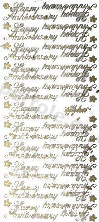 Happy Anniversary --  GOLD - PEEL OFF - STICKERS - by Starform ***54 Peel Off Stickers Le Suh