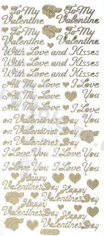 To My Valentine / Valentines Day / With Love and Kisses / All My Love / I love you /  Happy Valentines Day - GOLD - PEEL OFF - - by Starform ***  62 Peel Off Stickers Le Suh