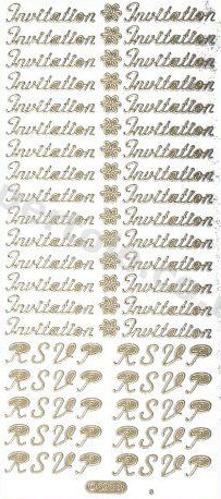 Invitation / RSVP -- GOLD -- PEEL OFF --STICKERS -- by Starform ***  68 Peel Off Stickers Le Suh