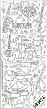 Drums - Guitar - Violin - Piano - Trumpet - Sax  126 Peel Off Stickers Le Suh