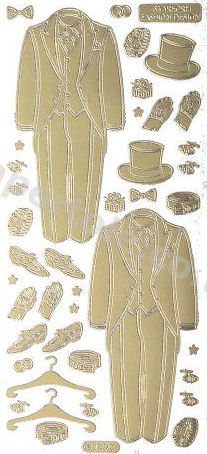 Groom - Top Hat and Tails - Wedding   206 Peel Off Stickers Le Suh