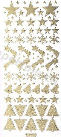 Xmas Stars - Bells - Trees   221 Peel Off Stickers Le Suh