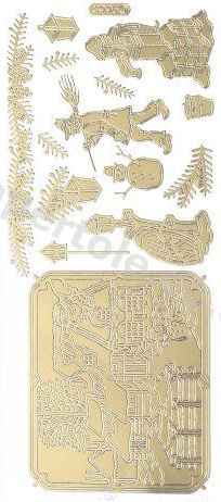 Christmas Picture 9  - Gold Peel Off -  232 Peel Off Stickers Le Suh
