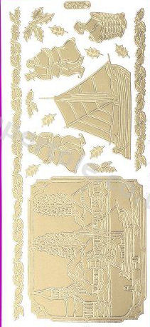 Christmas Picture 10  - Gold Peel Off -  233 Peel Off Stickers Le Suh