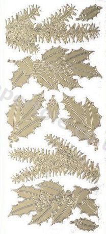 Christmas Holly - Christmas Ferns  - Gold Peel Off -  241 Peel Off Stickers Le Suh