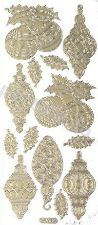 Christmas Baubles 2  - Gold Peel Off -  242 Peel Off Stickers Le Suh