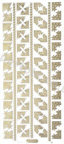 Xmas Corners and Borders  - Gold Peel Off -  250 Peel Off Stickers Le Suh