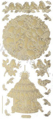 Christmas Robins - Gold Peel Off -  253 Peel Off Stickers Le Suh