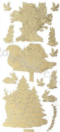 Christmas Animals - Gold Peel Off -  254 Peel Off Stickers Le Suh